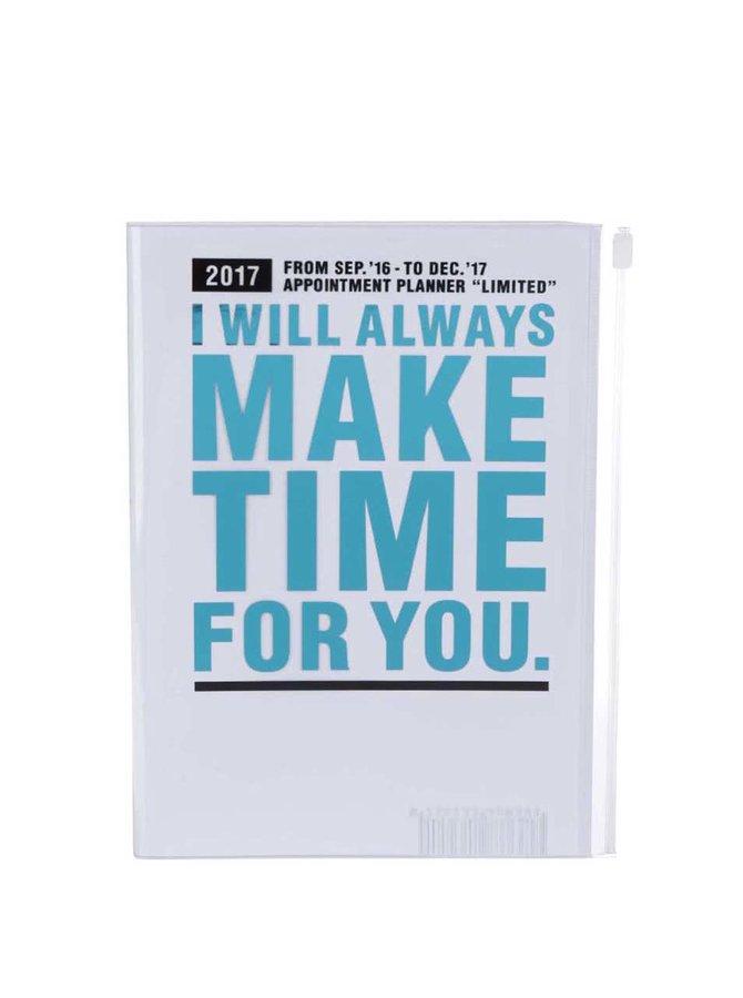 Tyrkysovo-bílý diář 2017 A5 Mark's MAKE TIME
