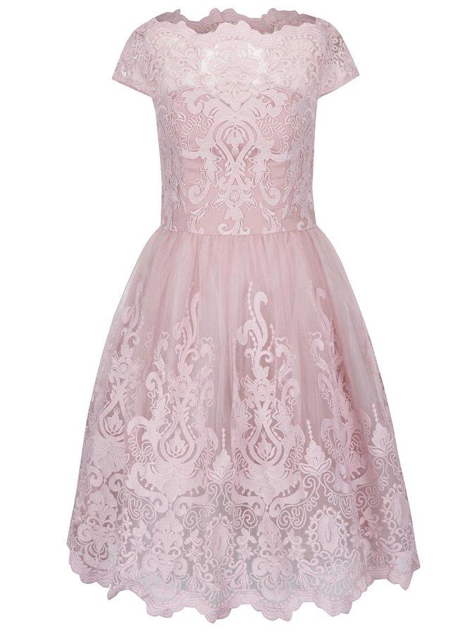 Staroružové šaty s čipkovaným topom Chi Chi London
