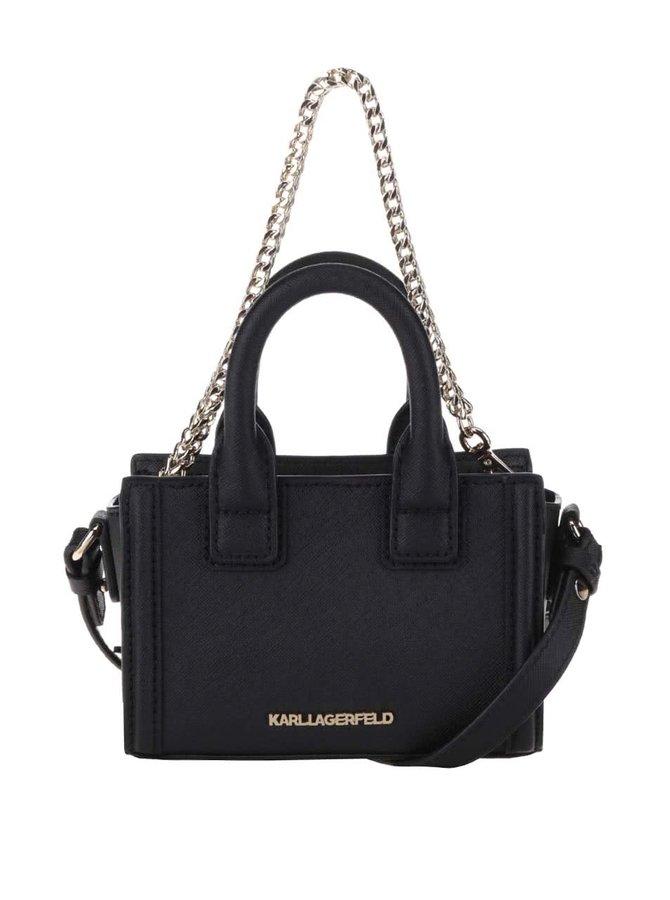Černá malá kožená crossbody kabelka KARL LAGERFELD