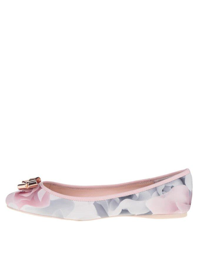Balerini roz Ted Baker Imme cu print și fundă decorativă