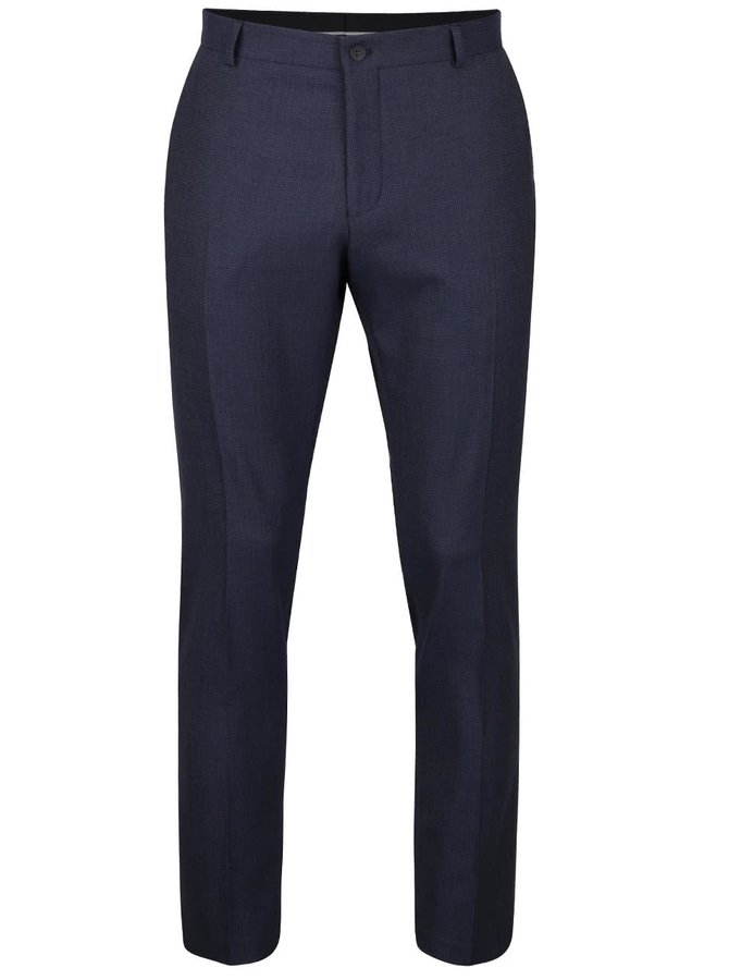 Tmavě modré formální kalhoty s jemným vzorem Selected Homme Done