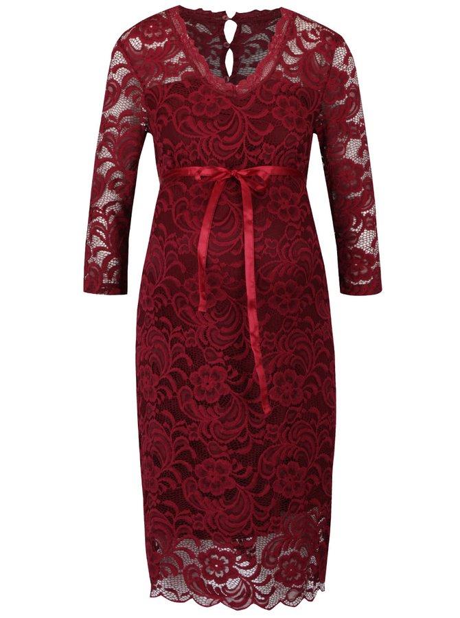 Rochie roșu burgundy Mama.licious din dantelă cu mâneci trei sferturi