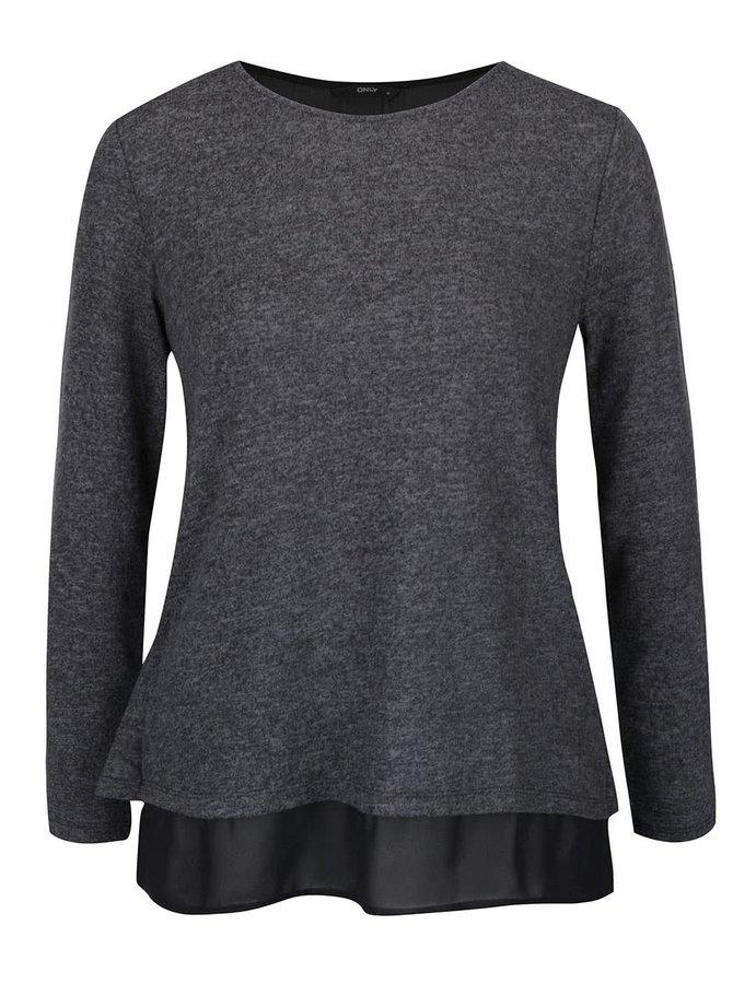 Čierno-sivé melírované tričko s priesvitným dielom ONLY Rea