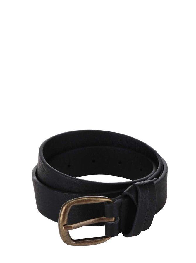 Černý kožený pásek Pieces Violanna