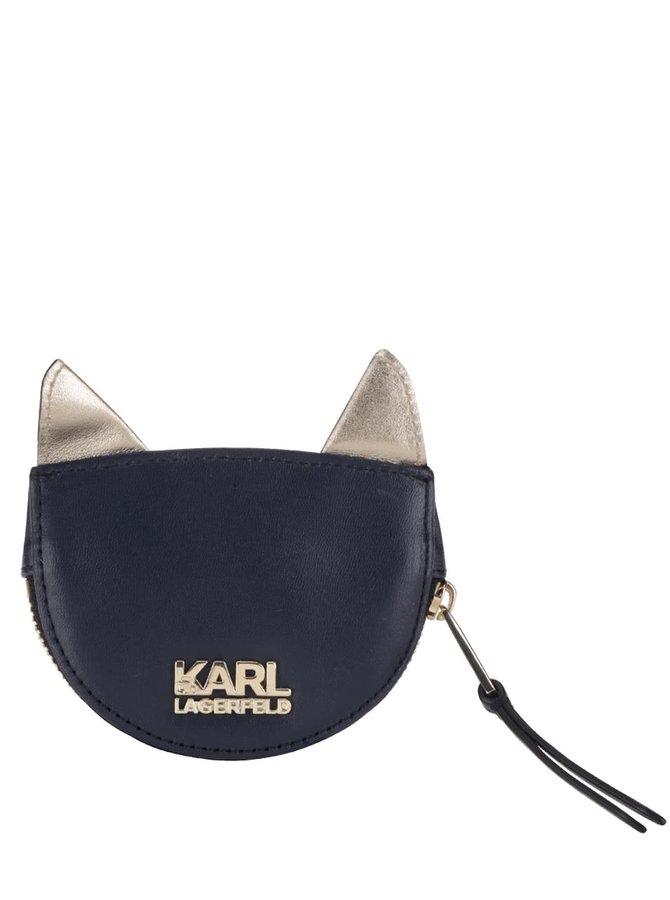 Tmavě modrá kožená prošívaná peněženka na drobné ve tvaru kočky KARL LAGERFELD