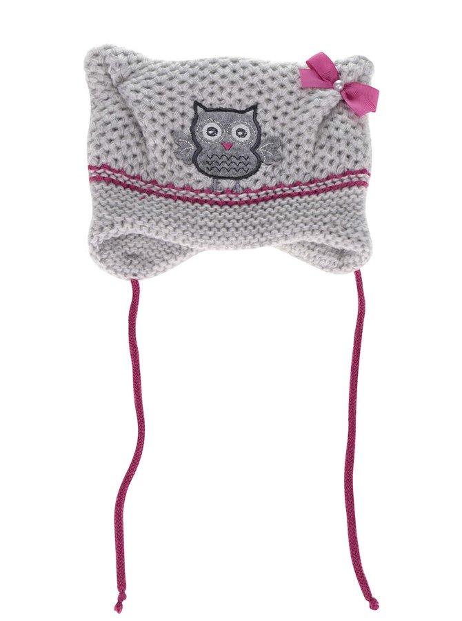 Růžovo-šedá holčičí čepice s nášivkou sovy 5.10.15.