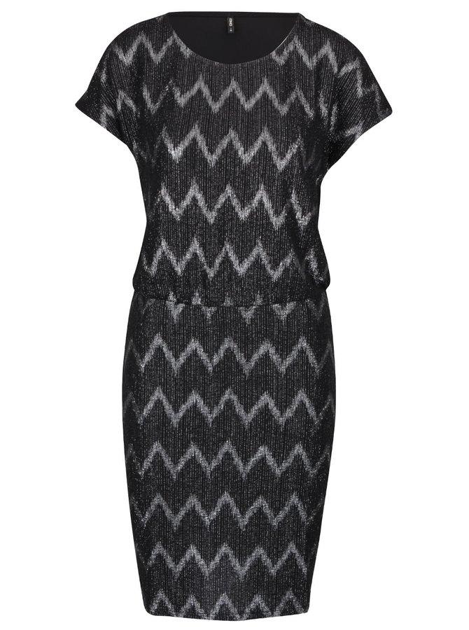 Černé šaty se vzorem ve stříbrné barvě ONLY Ziva