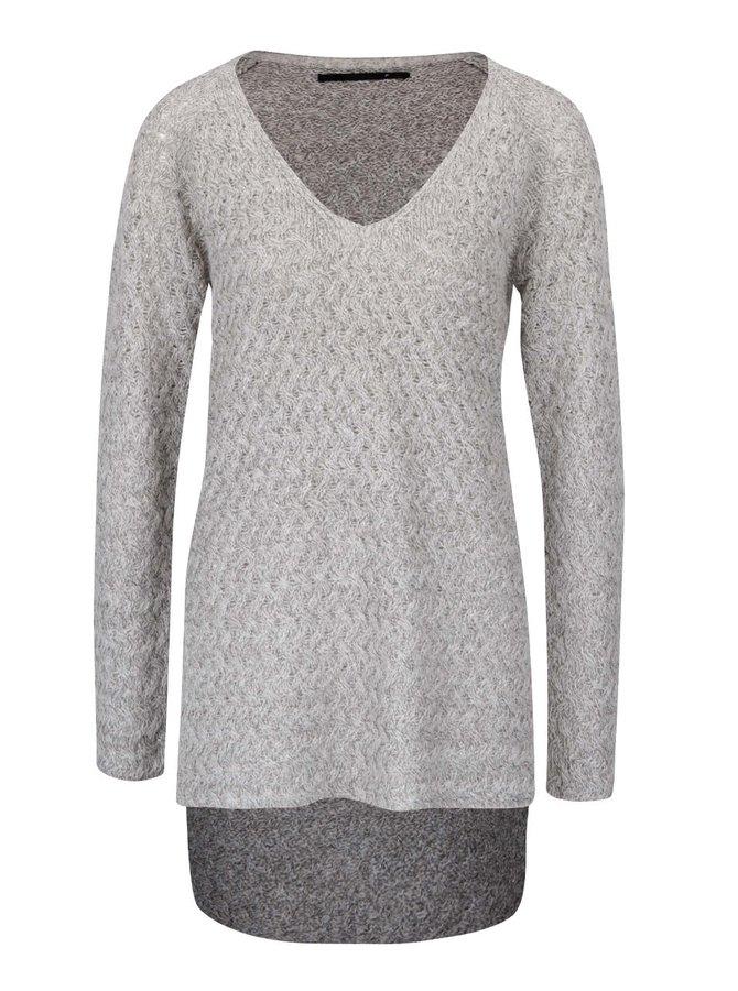 Světle šedý  žíhaný svetr s prodlouženou zadní délkou ONLY Lima