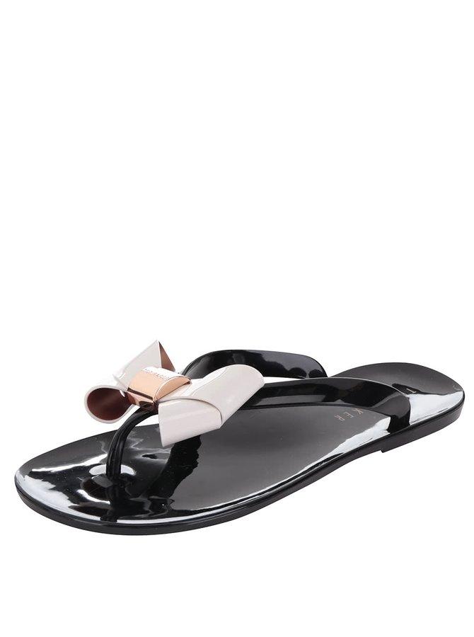 Černé dámské žabky s krémovou mašlí Ted Baker Ettiea