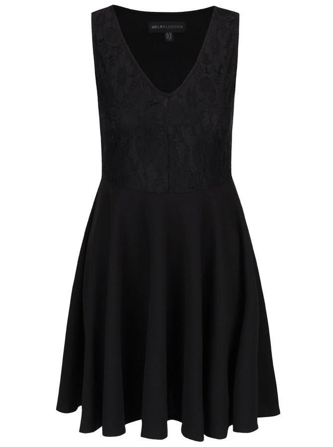 Černé šaty s krajkovou horní částí Mela London