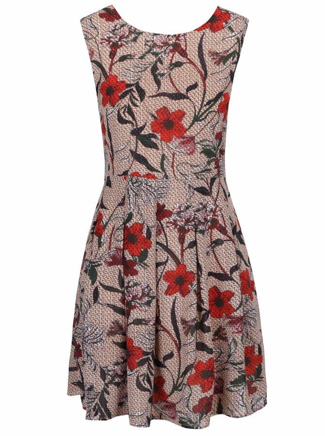 Béžové šaty s motívom kvetín Mela London