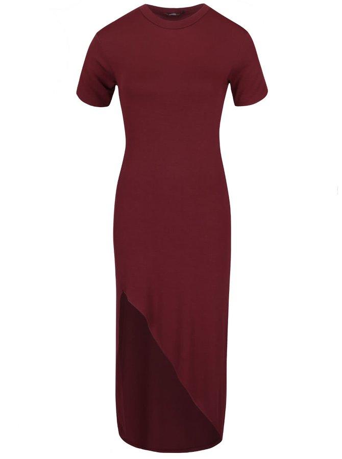 Vínové dlhé asymetrické šaty  ZOOT