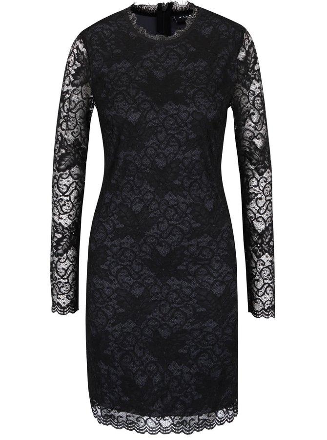 Černé krajkované šaty s dlouhým rukávěm VILA Piatri