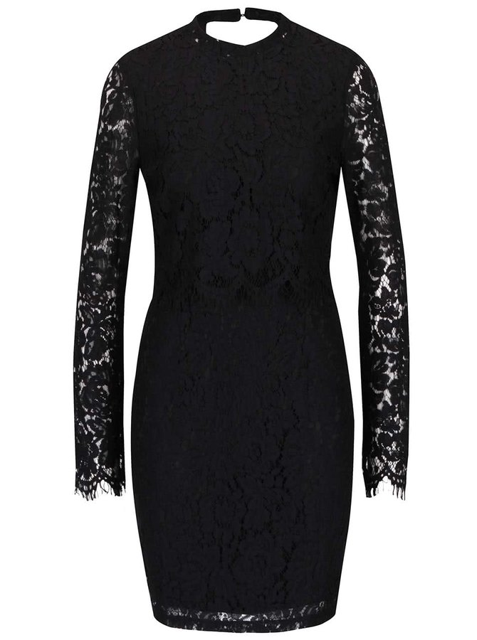 Rochie neagră VILA Leicka din dantelă