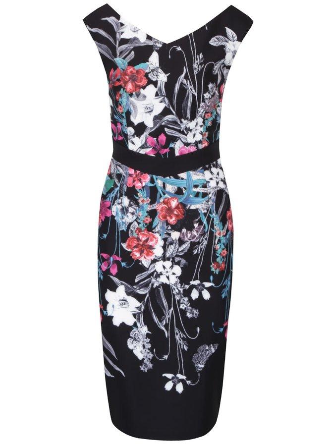 Čierne kvetované šaty bez rukávov Little Mistress