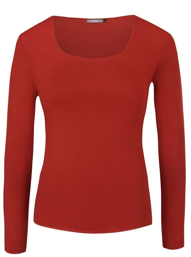 Červené tričko s kulatým výstřihem a dlouhým rukávem ZOOT