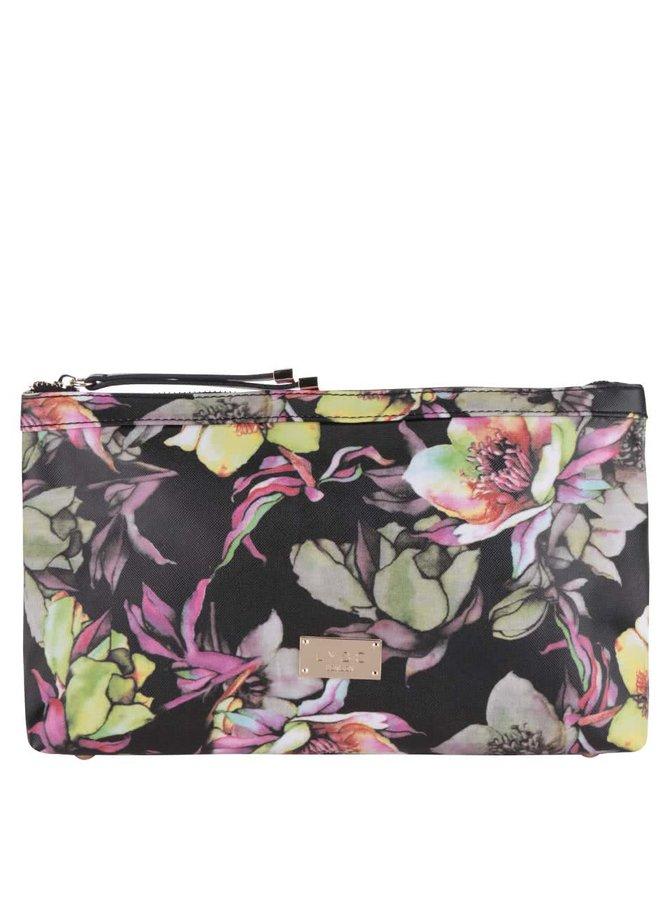 Čierna listová kabelka s farebnou potlačou kvetín LYDC