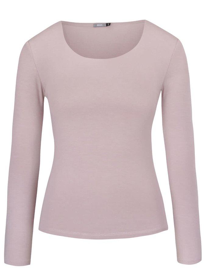 Světle růžové tričko s kulatým výstřihem a dlouhým rukávem ZOOT