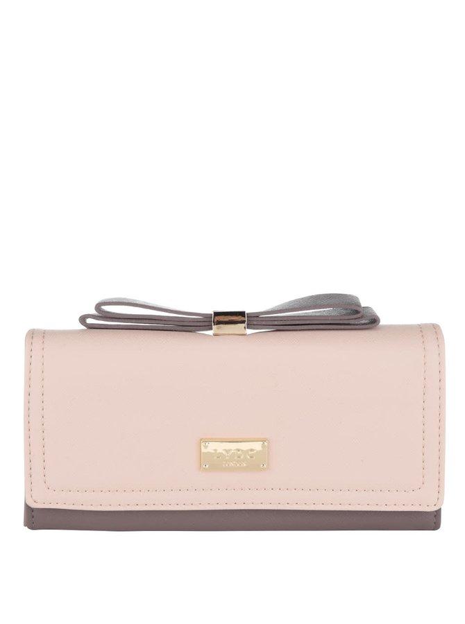 Krémovo-hnědá peněženka s mašlí LYDC