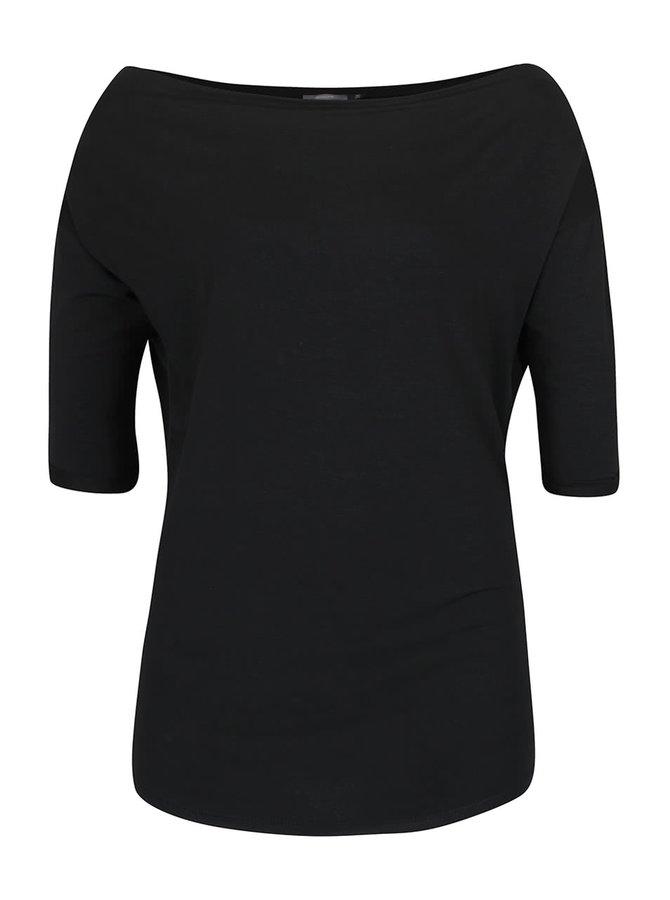 Černé tričko s 3/4 rukávy a lodičkovým výstřihem ZOOT