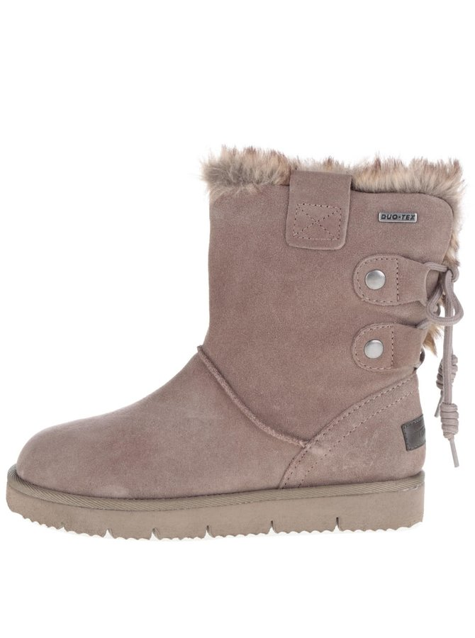Šedo-hnědé zimní semišové boty s umělým kožíškem Tamaris