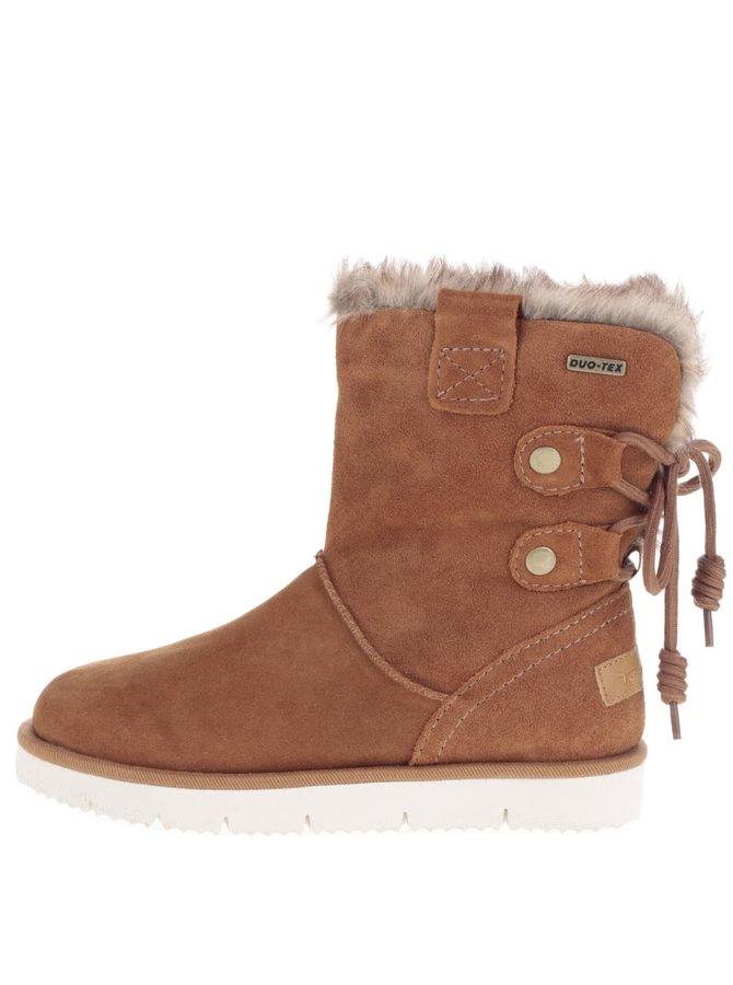 Hnědé kožené zimní boty v semišové úpravě s umělým kožíškem Tamaris