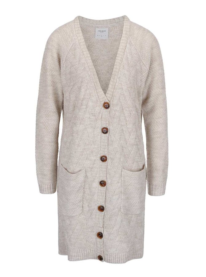Krémový dlouhý cardigan s kapsami Vero Moda Joya LS