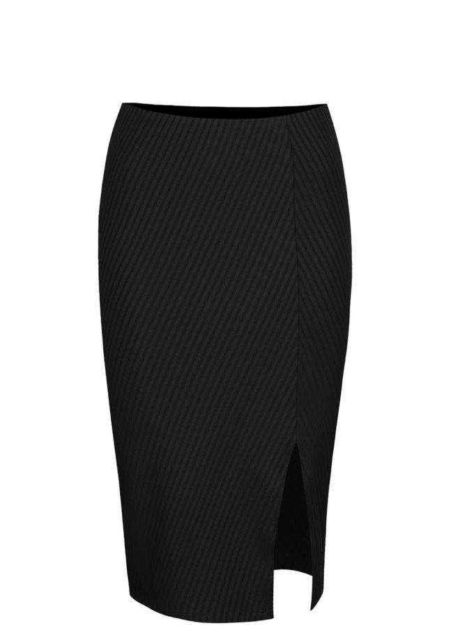 Černá žebrovaná sukně s rozparkem Vero Moda Dina