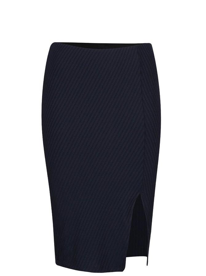 Tmavě modrá žebrovaná sukně s rozparkem VERO MODA Dina