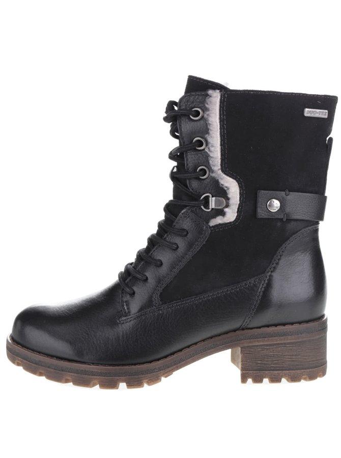 Čierne členkové kožené topánky na nízkom podpätku Tamaris