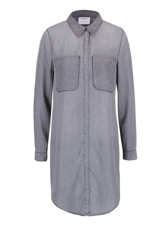 Sivá dlhšia košeľa s ozdobnými cvočkami VERO MODA Sanne