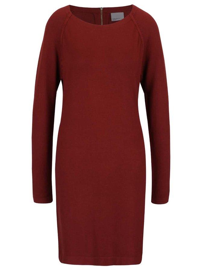 Cihlové volnější svetrové šaty s dlouhým rukávem VERO MODA Glory