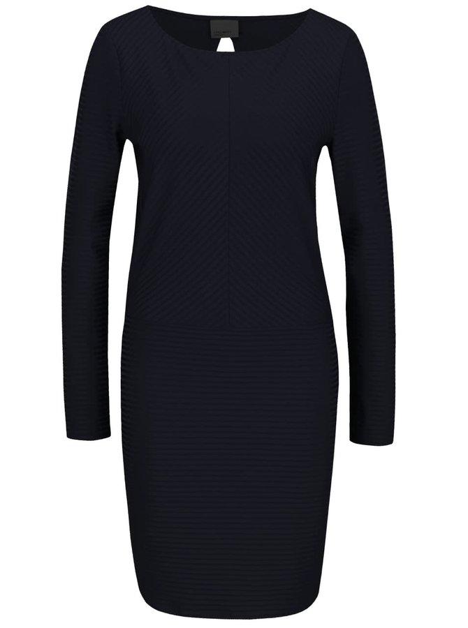 Tmavě modré žebrované šaty s dlouhým rukávem VERO MODA Dina