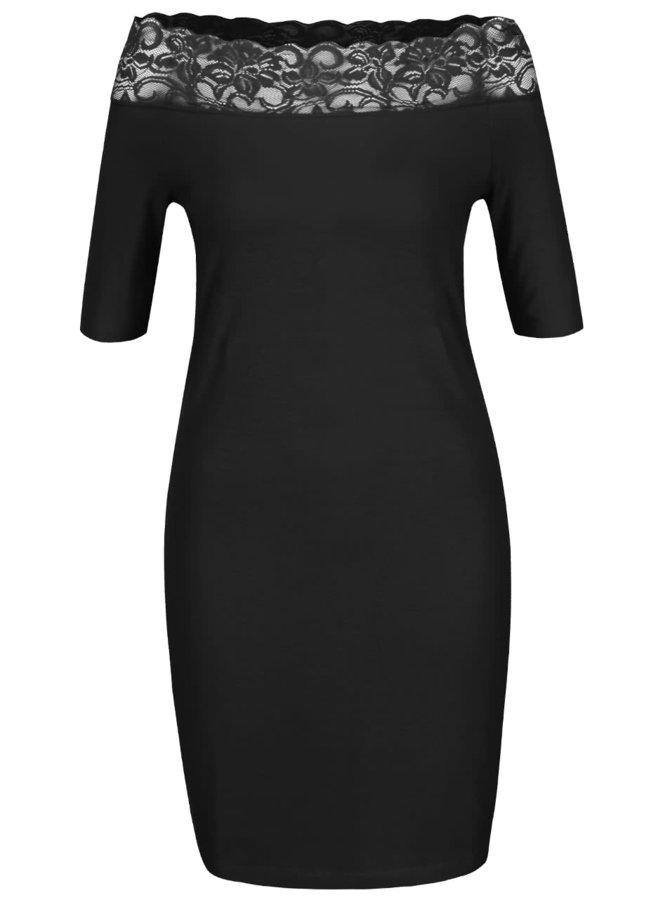 Černé šaty s krajkovým lemem Noisy May Lacy