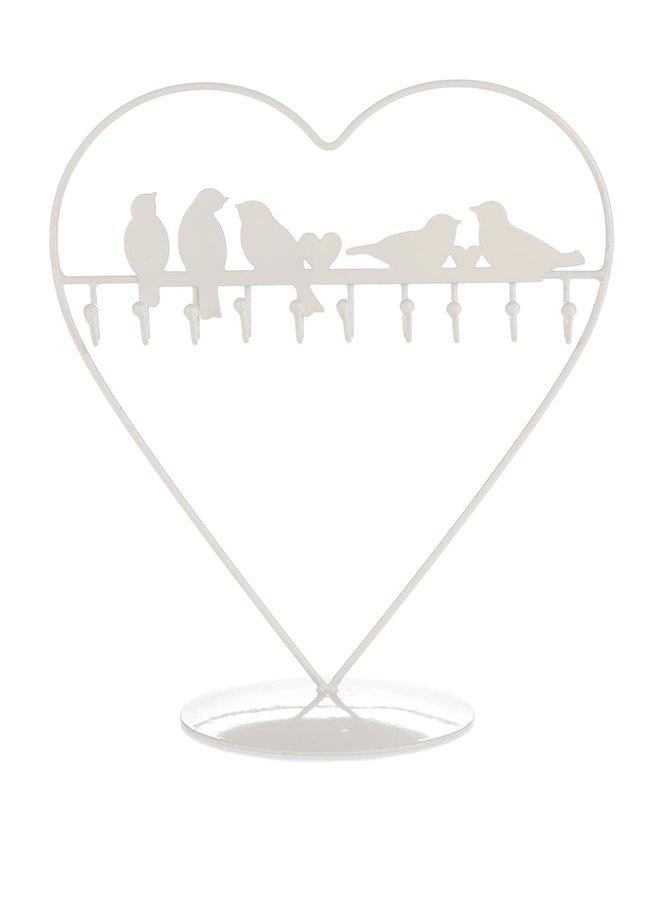 Stojan na šperky ve tvaru srdce s ptáčky Sass & Belle