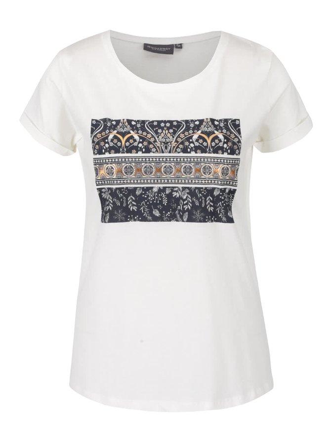 Krémové dámske tričko s potlačou Broadway Ravinia