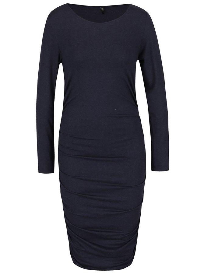 Tmavě modré šaty s nařasením na bocích a dlouhým rukávem ONLY Moster