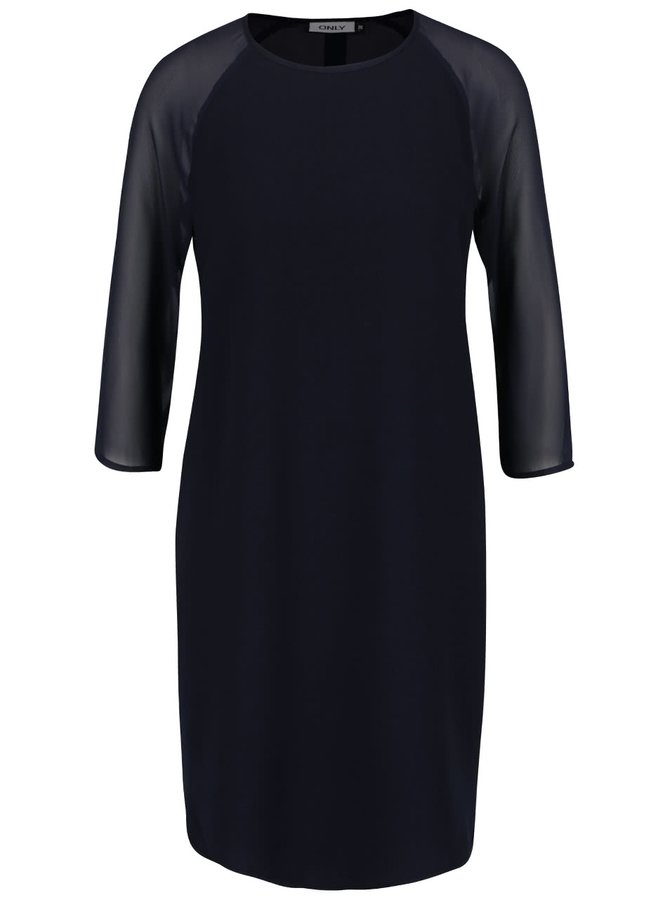 Tmavě modré volnější šaty s průsvitnými 3/4 rukávy ONLY Turner