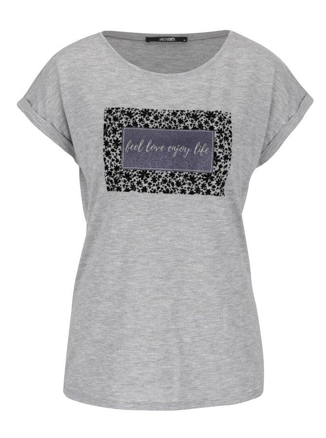 Sivé melírované tričko s trblietavou potlačou Haily´s Enjoy