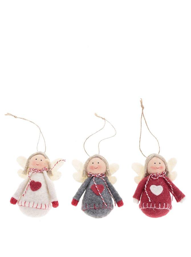 Súprava troch vianočných ozdôb a anjelmi CGB
