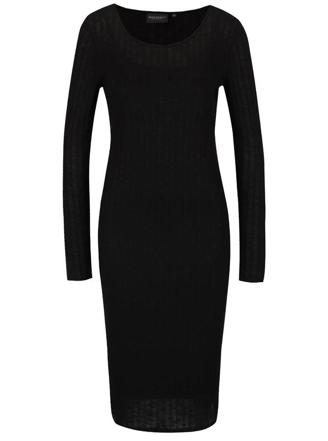 Čierne dlhšie rebrované šaty Broadway Saylor