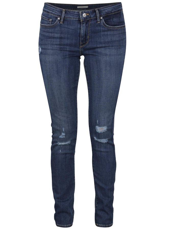 Tmavě modré dámské skinny džíny s potrhaným efektem Levi's® 711