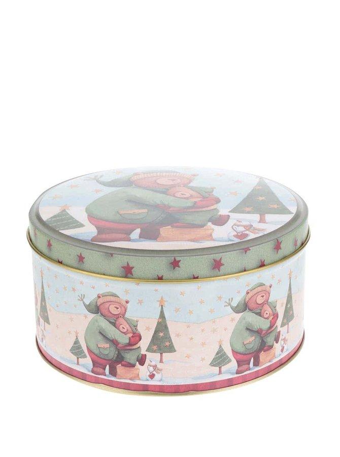 Hnedo-zelená guľatá plechová dóza s vianočným motívom Dakls