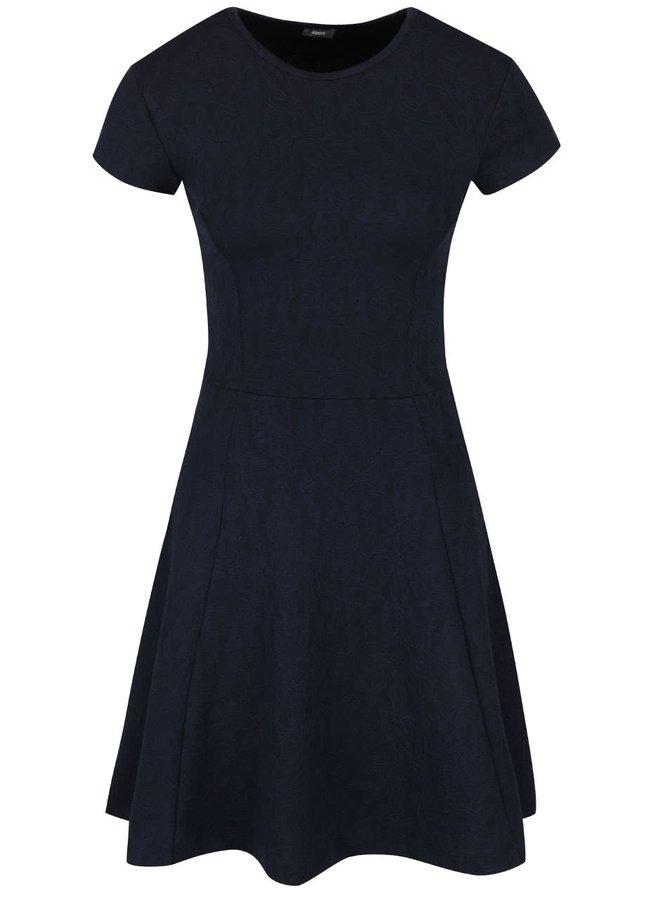 Tmavě modré šaty s jemným plastickým vzorem ZOOT