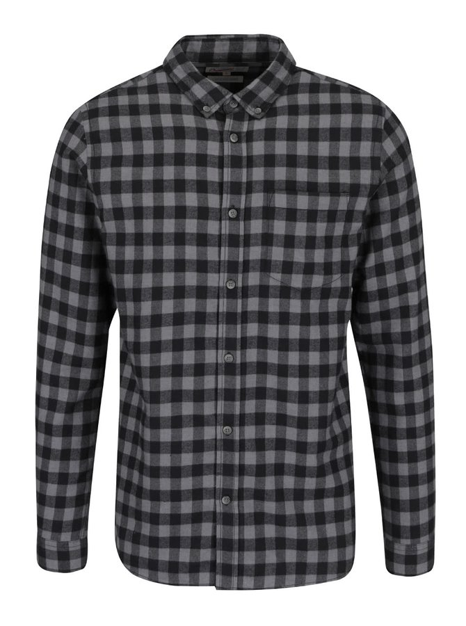 Černo-šedá kostkovaná slim košile Jack & Jones William
