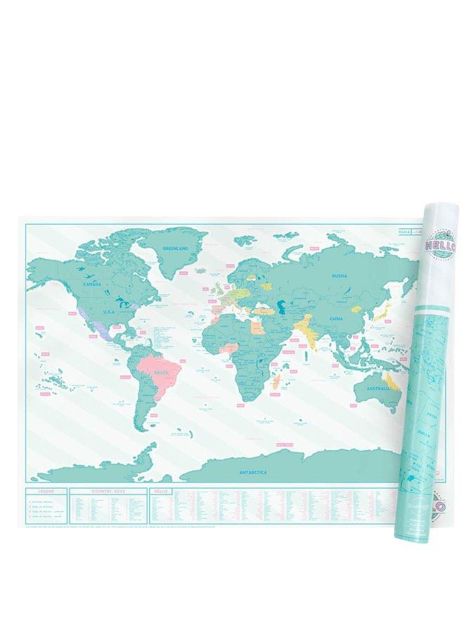 Nástěnná stírací mapa Luckies Hello Edition