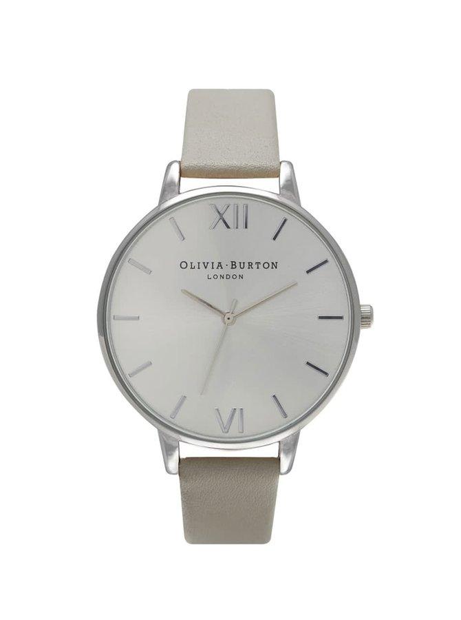 Šedé hodinky ciferníkem ve stříbrné barvě Olivia Burton