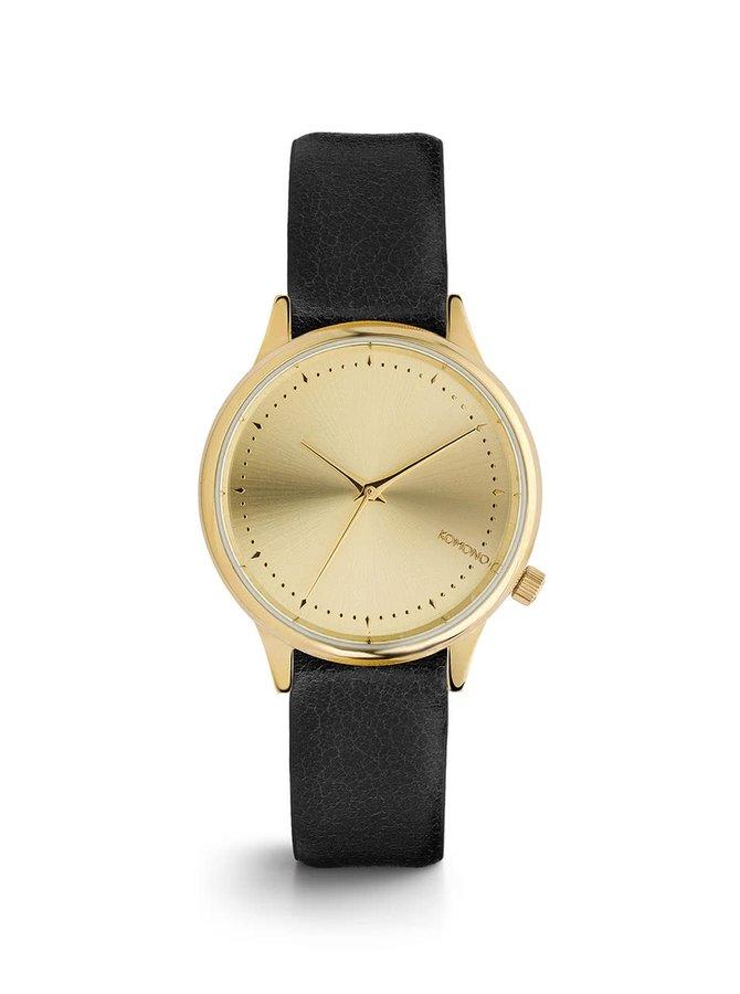 Dámské hodinky ve zlaté barvě s černým koženým páskem Komono Estelle Classic
