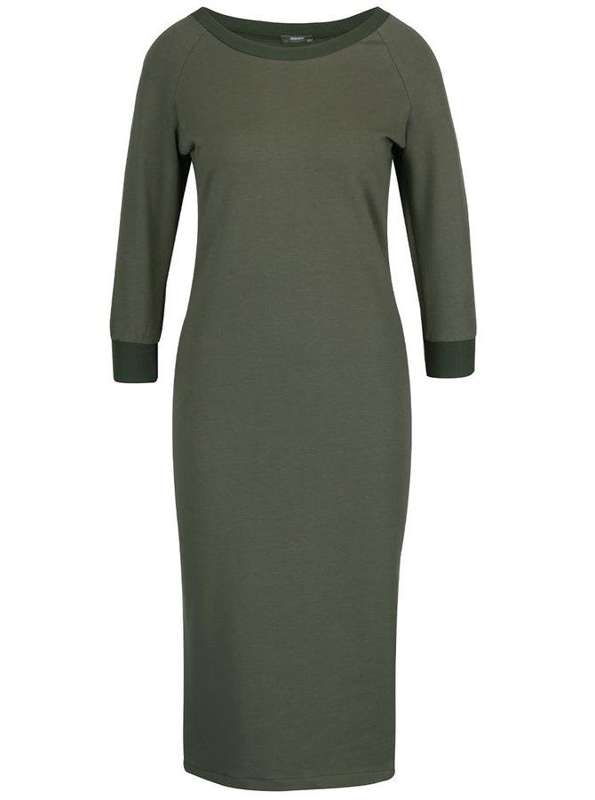 Kaki elastické šaty s 3/4 rukávmi a rozparkom ZOOT