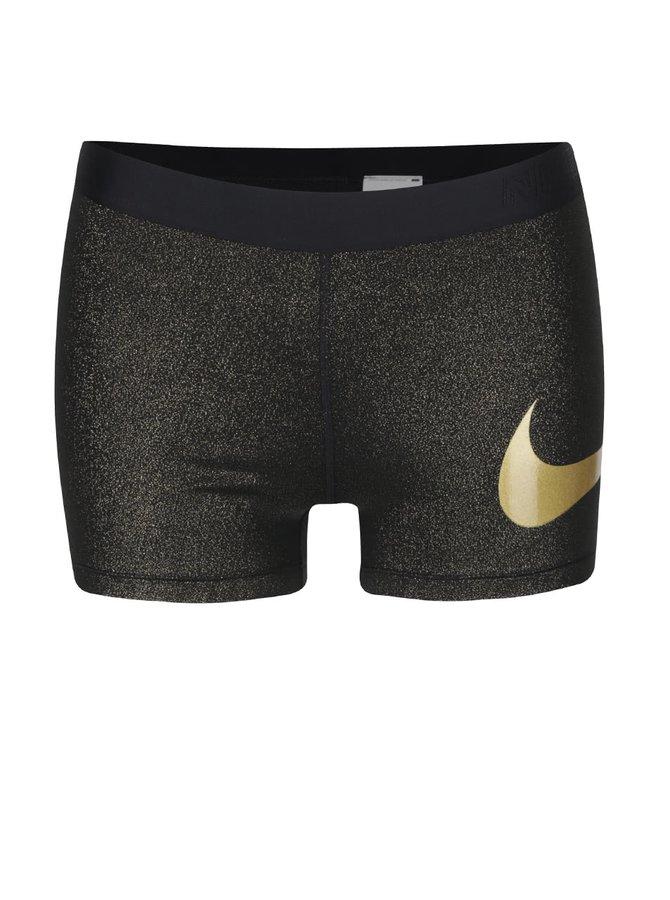 Čierne dámske ligotavé kraťasy Nike Pro Training Short